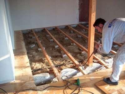 Isolering af gulv på strøer